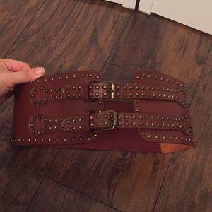 Accessories - Reddish Brown studded belt